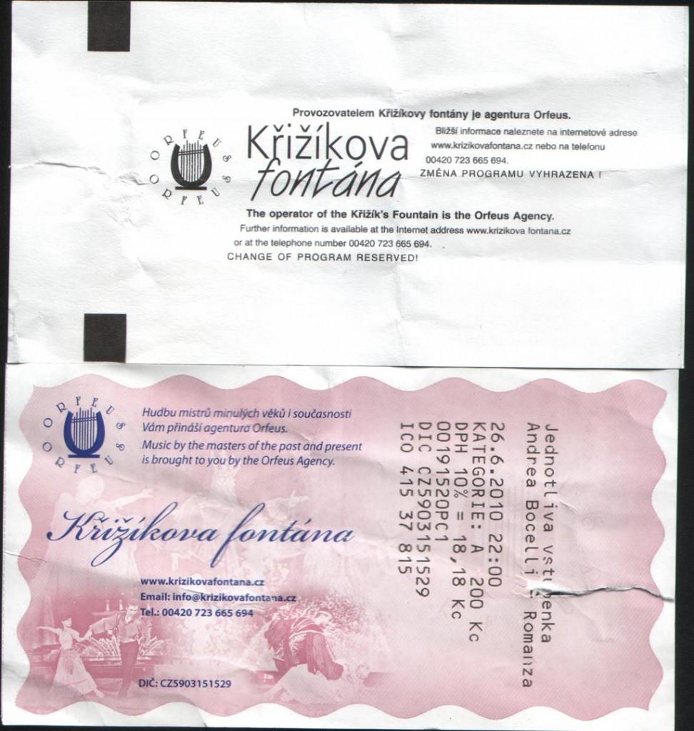 Билет на Поющие фонтаны в Праге