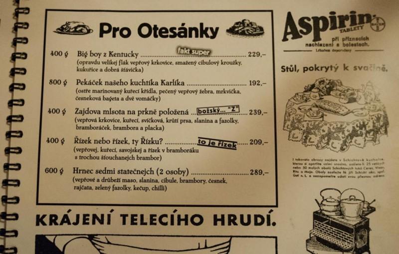 Пивная Smíchovský radniční sklípek - меню