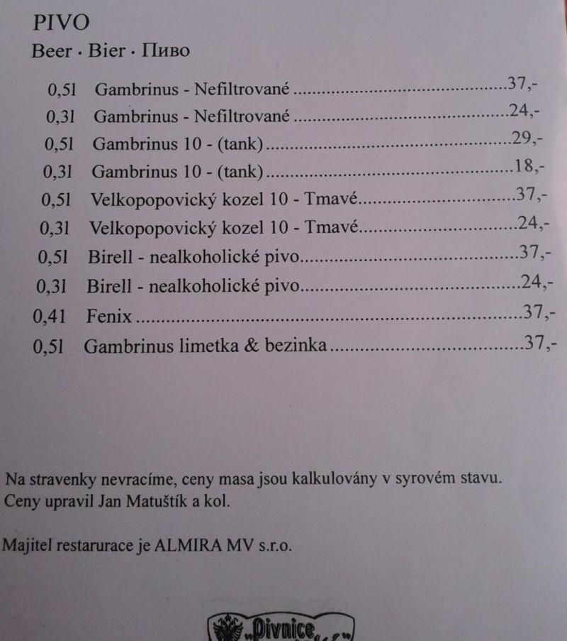 Pivnice Štupartská - пиво