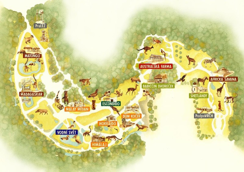 Зоопарк Йиглава - карта