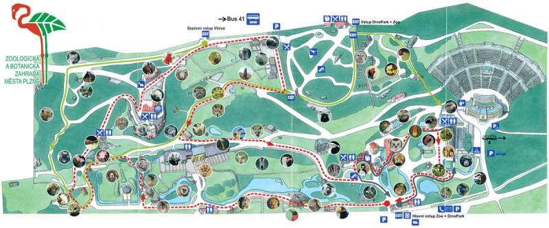 Зоопарк Пльзень карта